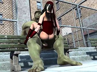Big titted babe fucked by green HULKs humongus cock