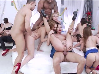 Hot Girl In Steamy Xmas Orgy
