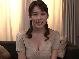 Housewife uses her big Japanese tits and hot mouth to get him off