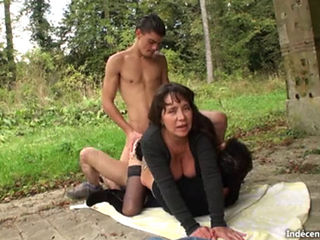 Busty Amateur Double Teamed Outdoors