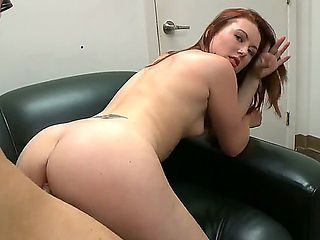 Provocative pale redhead amateur babe Cammie Fox with small natural boobs sucks stiff pecker and ...
