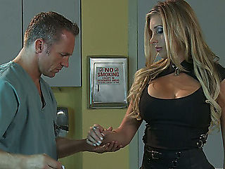 Beautiful golden-haired visits attractive doctor and turns on for him