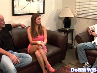Married babe cockriding and gets cum in mouth