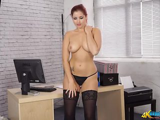 Secretary striptease shows off her perfect body