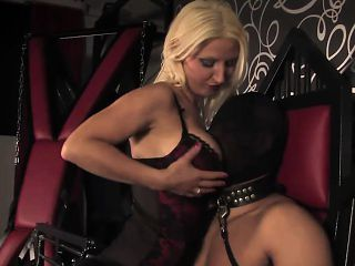 Busty lingerie dom punishing cock and nipples