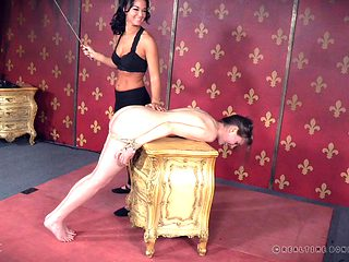 Gorgeous brunette lets a kinky dude and a hot bitch tie her up