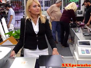 Pawning office babe banged in storageroom