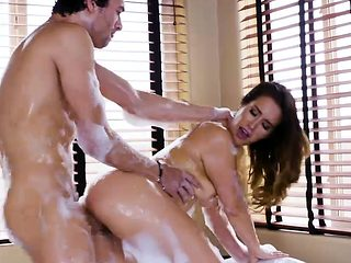 Sultry brunette babe Eva Lovia gets pounded in soapy bathtub