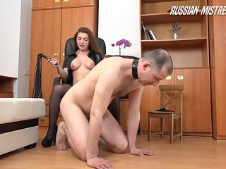 Horny slaved guy being stripped off her clothes then spanked hard in femdom BDSM porn