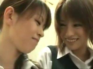 Cute japanese lesbian tongue kissing party