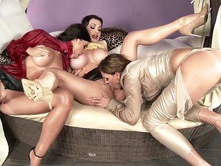 Amazing pornstars Tiffany Shine, Aletta Ocean and April Blue in horny masturbation, big ass adult...