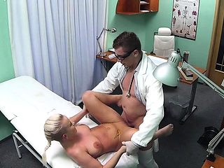 Busty hospital babe pussypounded by doctor
