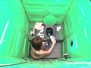 Porta Gloryhole Mall Rat parking lot Blowjob in public porta potty gloryhole
