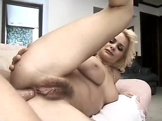 Hairy French Blonde gets it in her ass