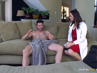 busty bitch in uniform riding cock