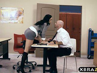 Hairy pussy schoolgirl fucks her teacher during detention