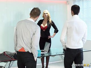 busty & horny at work
