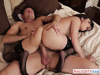 Lustful exotic bombshell Casey Calvert and hard dicked fuck buddy Bill Bailey having vigorous sex