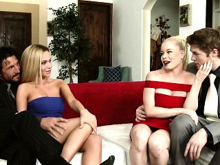 Hung stud fucks his best friend's bodacious blonde wife on the couch