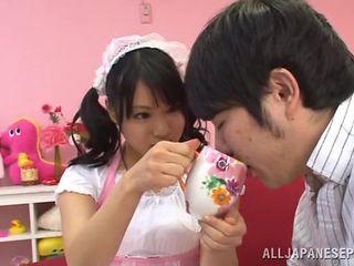 kinky japanese playing dirty as a maid