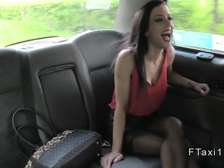 Busty petite dark haired babe in fake taxi