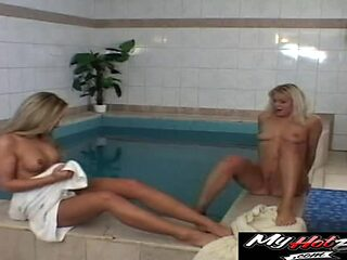 Horny blondes interrupted by a fortunate guy in a spa