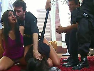 Two brunette pornstars - the Jade Indica and Mr. Pete and John Henry in a hottest rough group sex