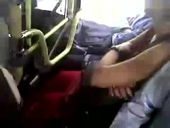 Man touching the boobs of a girl in the bus