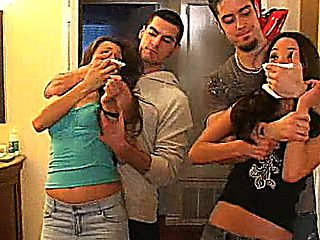 Celeste Star And Her Friend Gets By Two Guys