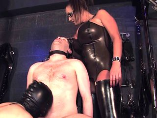 Femdom giving blowjob humiliation task to male sub