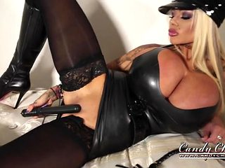 Skintight black latex is hot on a naughty cop