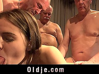 Old Man Gang Bang Sex Summit With A Teen Blonde Nurse With Luciana Karel