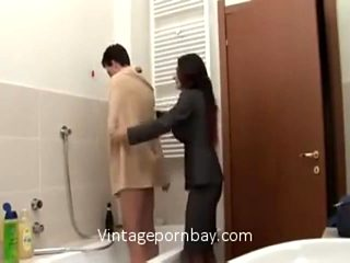 Italian Stepmom Teasing Her Son to Fuck with Sexy Night Dres