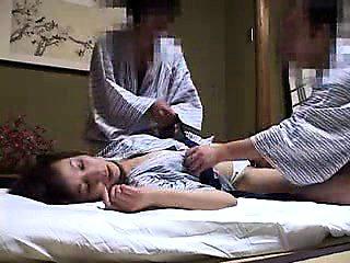 Petite Japanese housewife has two kinky guys sharing her ha