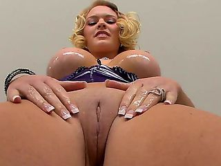 Krissy Lynn gets her tight pussy all oiled up and ready for a hard solo