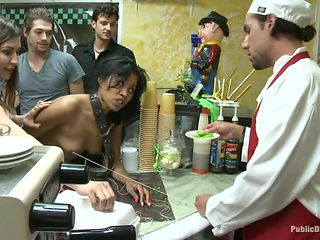 sex slave fucked in the kitchen