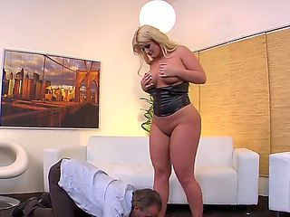 Tom Byron gets himself under the influence of always-hungry bitch Julie Cash, that will not let h...