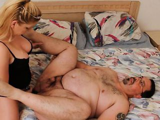 Toby getting roughly pegged in his tight anal hole by a busty blonde