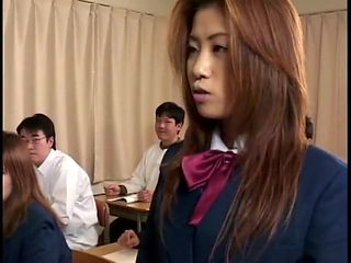Teacher instructs student in cum swap and swallow