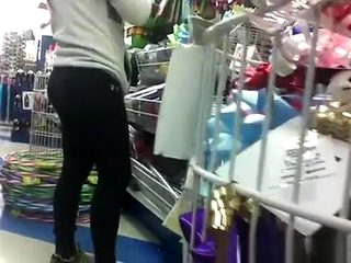 Asian Ass in Spandex at store