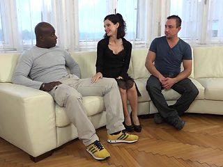 Cuckold Training Wife fucks black man in front of husband