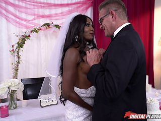 Bride with fake tits ravished hardcore after wedding