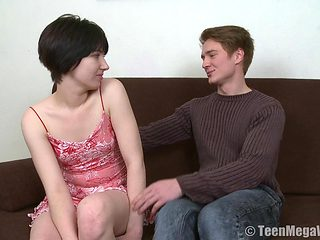 Short-haired Russian teen enjoys having her cunny stuffed hard
