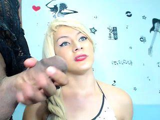 Webcam girl blonde deepthroat blowjob long