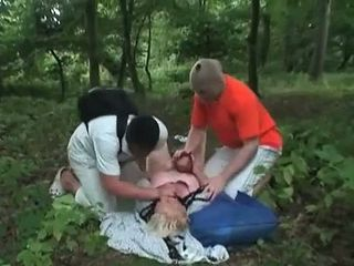 Granny raped in the woods