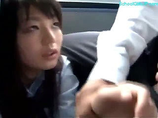Schoolgirl Giving Handjob For Business Man Facial On The Bus