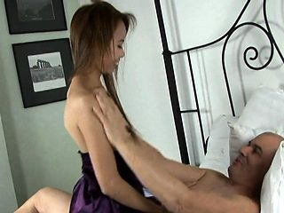 Bony Thai hottie is thrilled by the big white boner