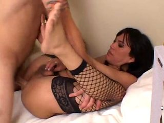 Gorgeous tranny fucked hard until she cums