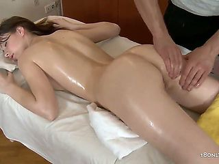 Kani is laying on the massage table, relaxing after a rough day, but she feels that her masseur i...