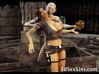 3D Zombie Fucks Lara Croft!